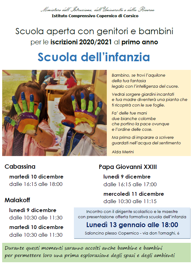 Locandina Open day infanzia