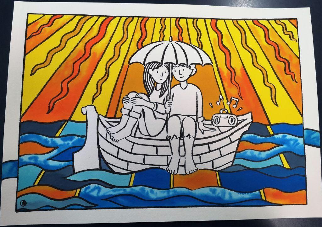 La barca della gentilezza. Disegno di Francesco Marconetti, 2019