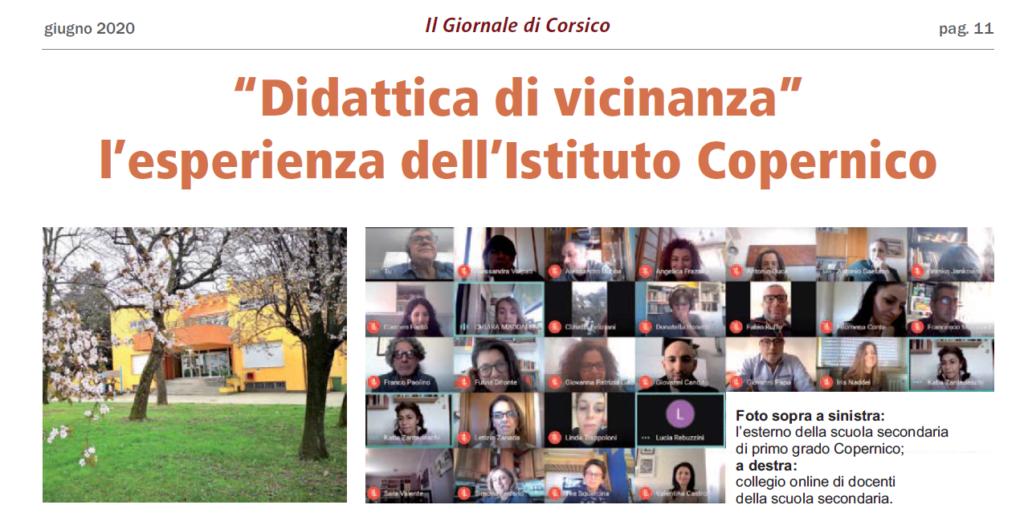 Fotografia introduttiva all'articolo sulla didattica a distanza e vicinanza dell'IC Copernico, IL giornale di Corsico, giugno 2020