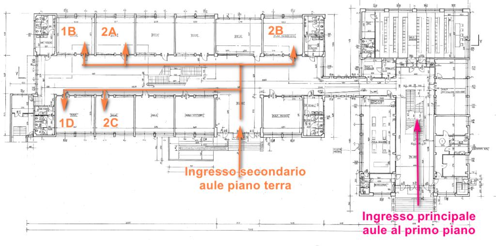 Piantina Campioni Mascherpa, piano rialzato con aule